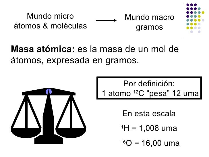 "Por definición: 1 atomo  12 C ""pesa"" 12 uma En esta escala 1 H = 1,008 uma 16 O = 16,00 uma Masa atómica:  es la masa de u..."