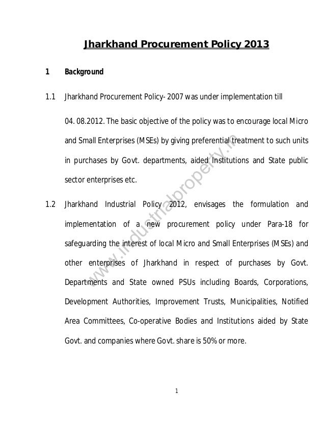Jharkhand Policy 2013