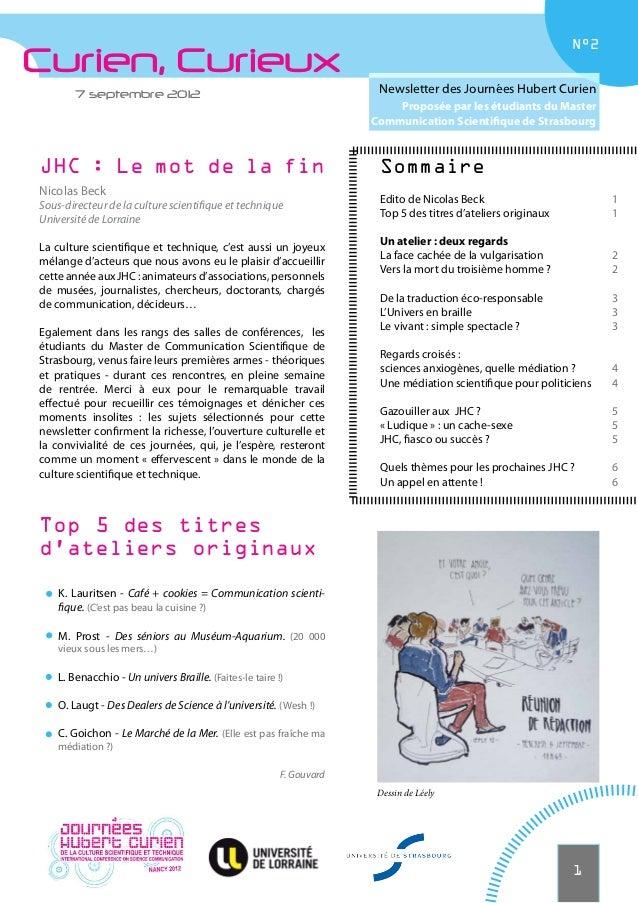 N°2Curien, Curieux        7 septembre 2012                                               Newsletter des Journées Hubert Cu...