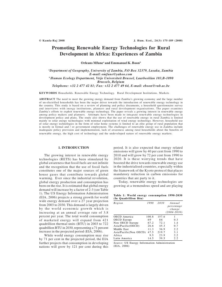 Promoting Renewable Energy Technologies for Rural Development in Africa: Experiences in Zambia