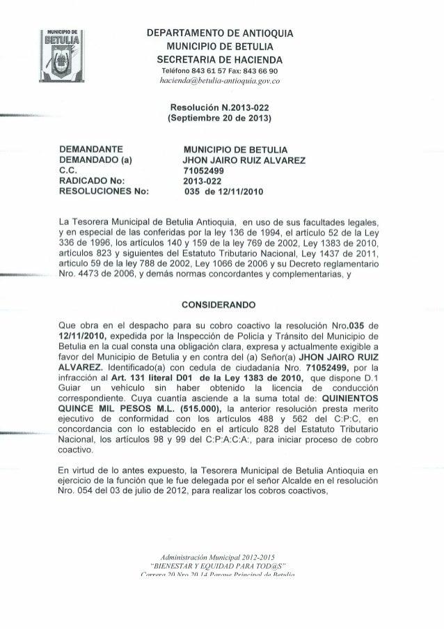Resolución N 2013-022 de Septiembre 20 de 2013
