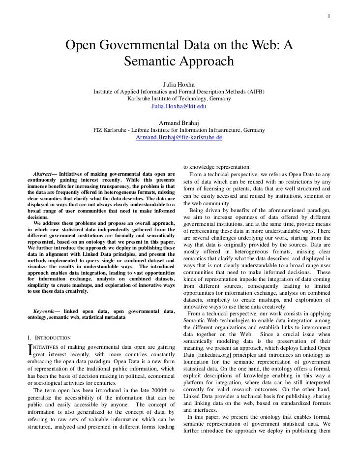 1                 Open Governmental Data on the Web: A                         Semantic Approach                          ...