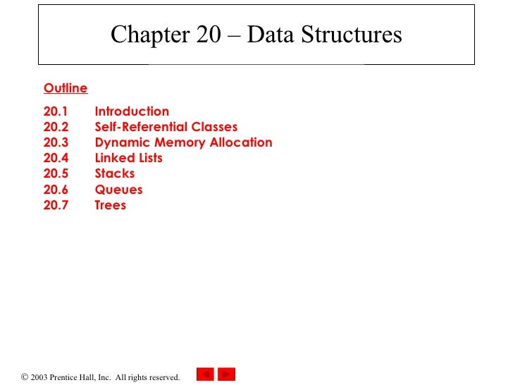 Chapter 20 – Data Structures Outline 20.1  Introduction 20.2  Self-Referential Classes 20.3  Dynamic Memory Allocation 20....