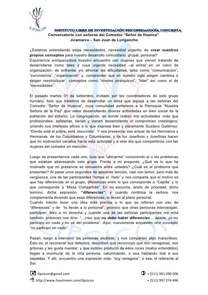"""Conversatorio con señoras del Comedor """"Señor de Huanca""""                       Jicamarca – San Juan de Lurigancho  ¿Estamos..."""