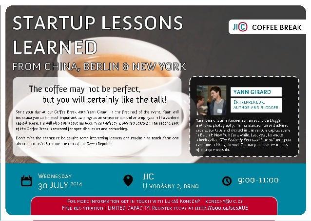 JIC Coffee Break with Yann Girard on Startup Lessons Learned