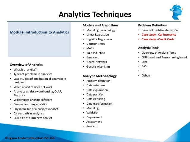 Jigsaw Academy Foundation Course in Analytics - Introducation