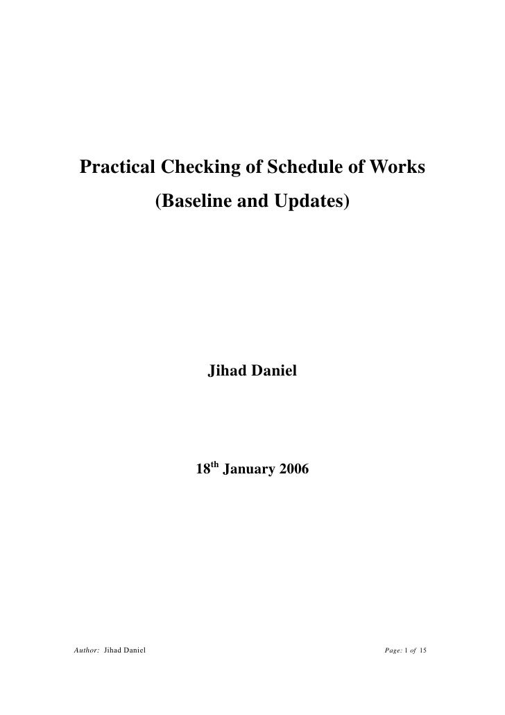 Practical Checking of Schedule of Works                       (Baseline and Updates)                            Jihad Dani...