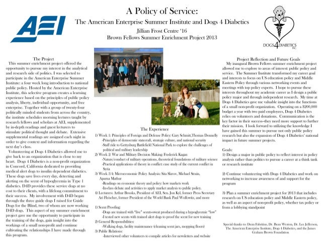 A Policy of Service: The American Enterprise Summer Institute and Dogs 4 Diabetics by Jillian Frost