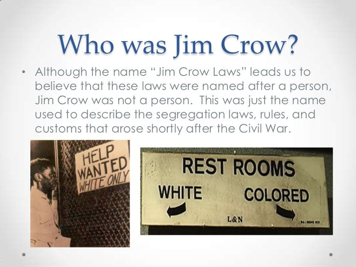 an introduction to the history of jim crow laws after the civil war in the united states Jim crow laws were laws established to promote racial segregation, especially after the federal government stopped enforcing the promotion of civil rights in the south in 1877 (after reconstruction) after the civil war, the federal government passed the 13th (prohibiting slavery), 14th (due process.