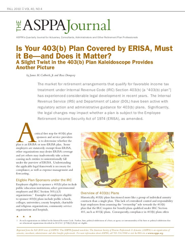 """Is Your 403(b) Plan Covered by ERISA"