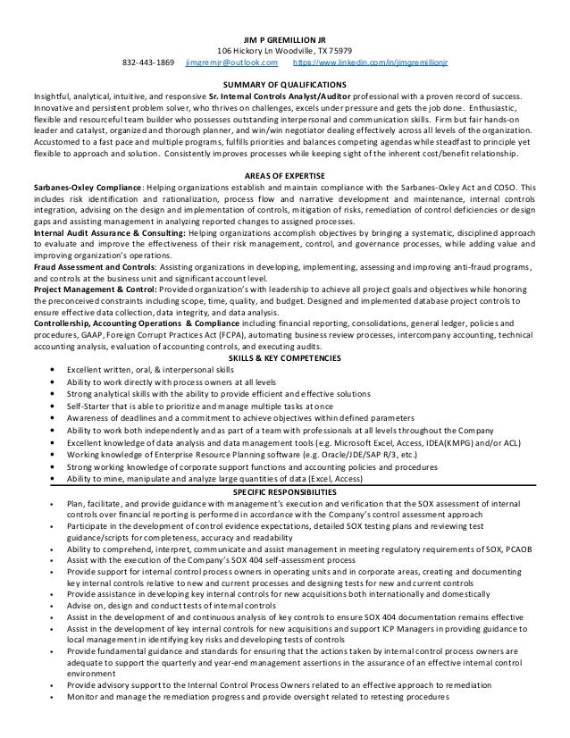 Quality Auditor Sample Resume