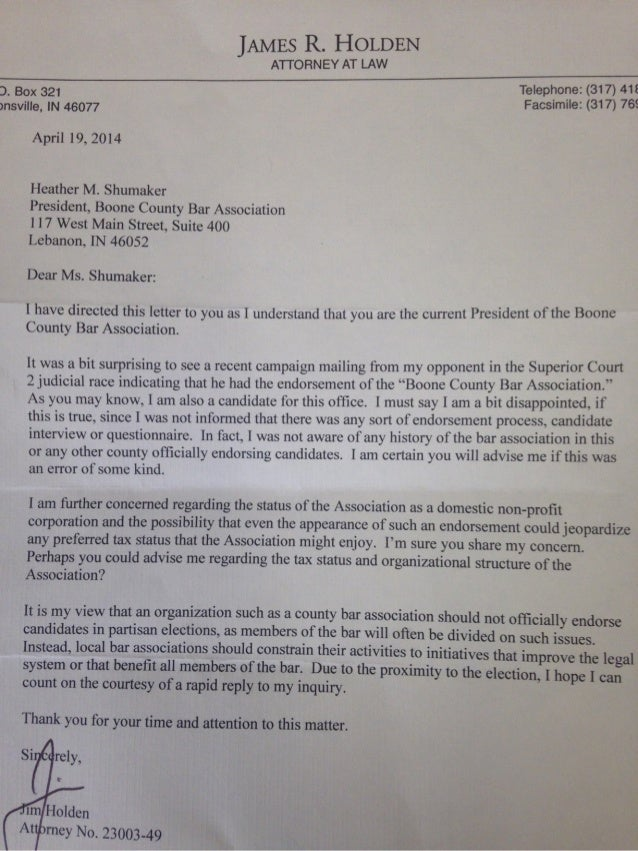 Jim Holden letter to Boone County Bar Assocaition