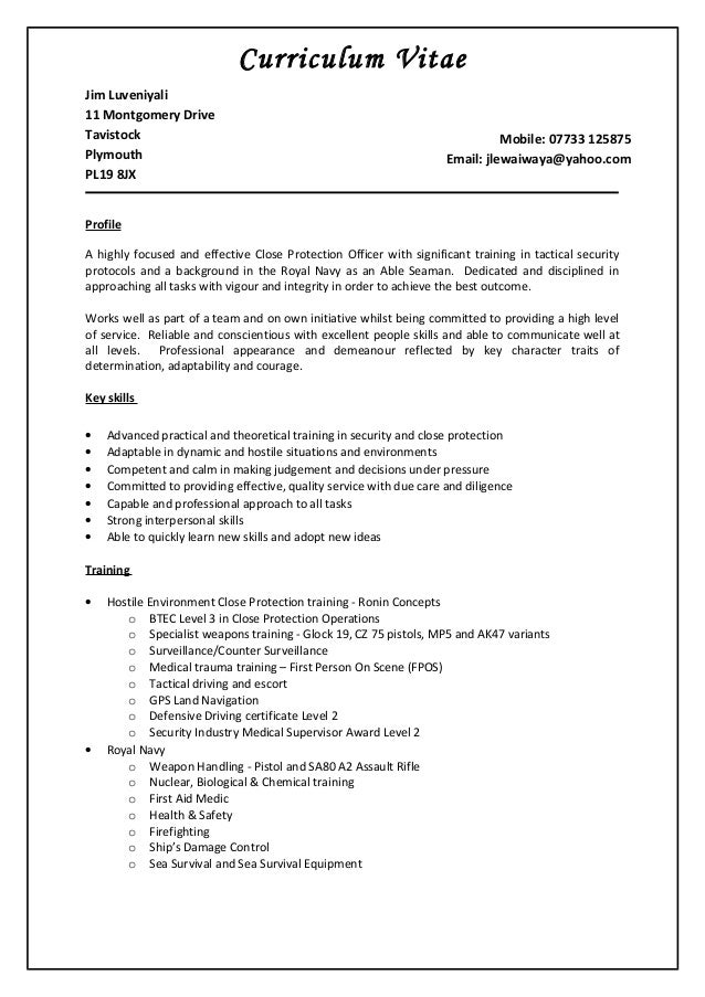 door supervisor cv template