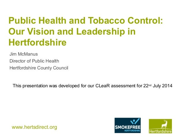 our vision and leadership for tobacco control in hertfordshire