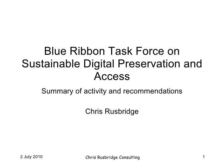 Blue Ribbon Task Force on Sustainable Digital Preservation
