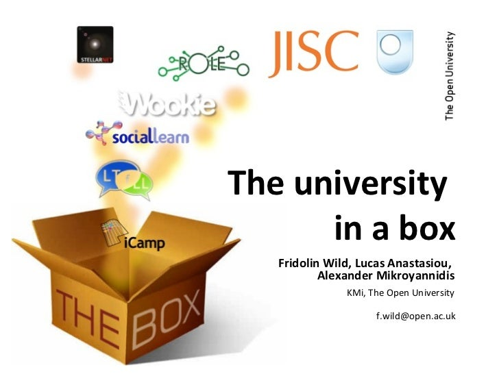 The university  in a box Fridolin Wild, Lucas Anastasiou,  Alexander Mikroyannidis KMi, The Open University [email_address]