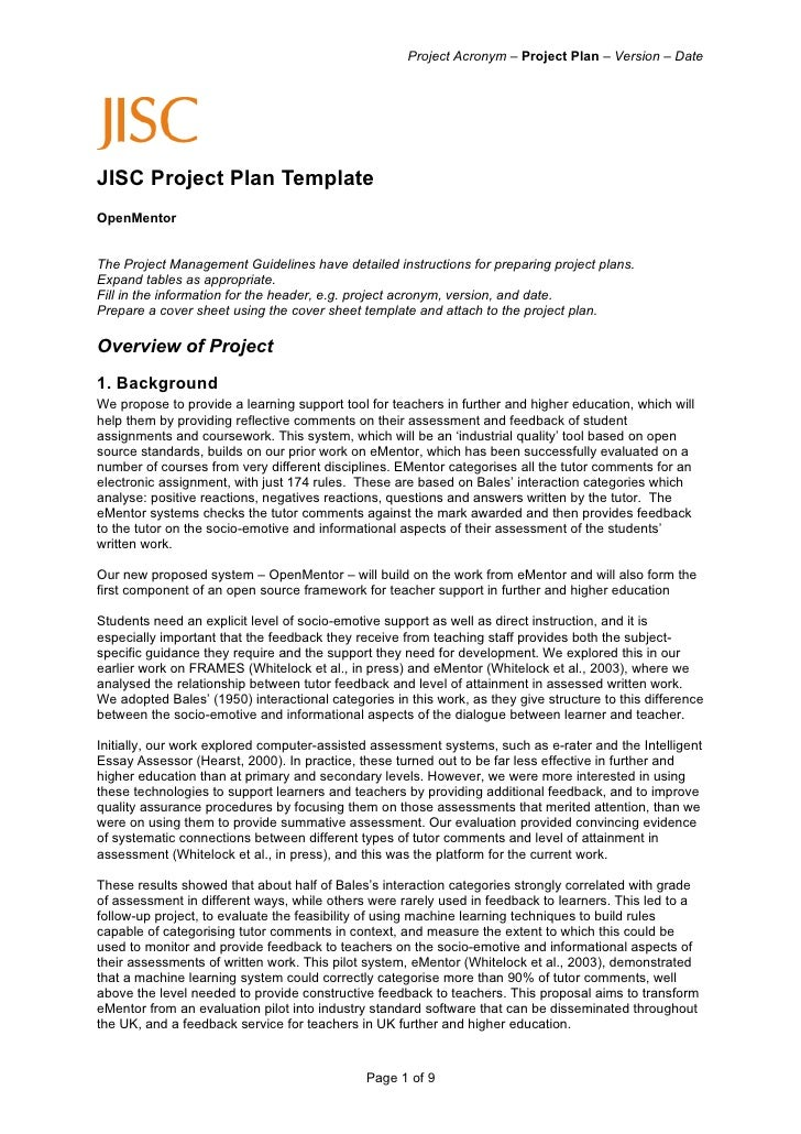 Project Acronym – Project Plan – Version – Date     JISC Project Plan Template OpenMentor   The Project Management Guideli...