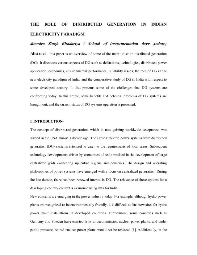 THE       ROLE        OF      DISTRIBUTED             GENERATION              IN     INDIANELECTRICITY PARADIGMJitendra Si...