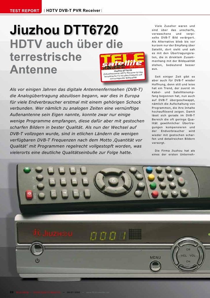 TEST REPORT                   HDTV DVB-T PVR Receiver     Jiuzhou DTT6720                                                 ...