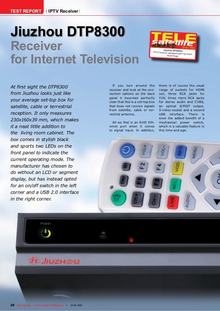 TEST REPORT                   IPTV ReceiverJiuzhou DTP8300Receiver                                                        ...