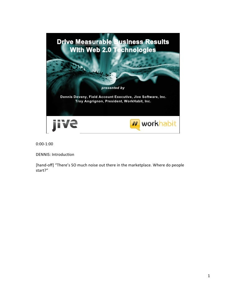 Jive Wh Driving Measurable Business Results With Web 2.0 Technologies