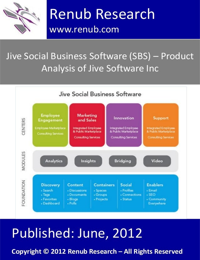 Jive Social Business Software (SBS) – ProductAnalysis of Jive Software IncRenub Researchwww.renub.comPublished: June, 2012...