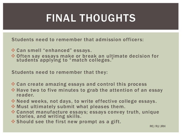 Some Advice on Writing College Essays