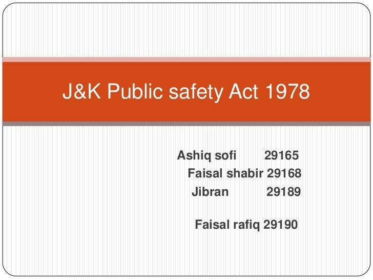 J&k public safety act 1978