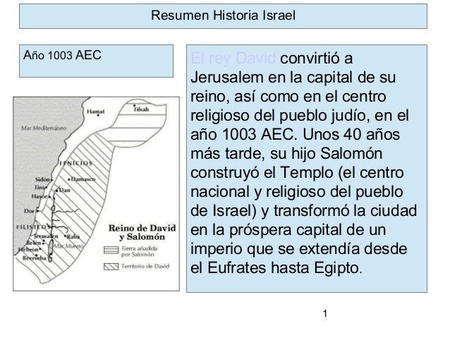 1 El rey David convirtió a Jerusalem en la capital de su reino, así como en el centro religioso del pueblo judío, en el añ...