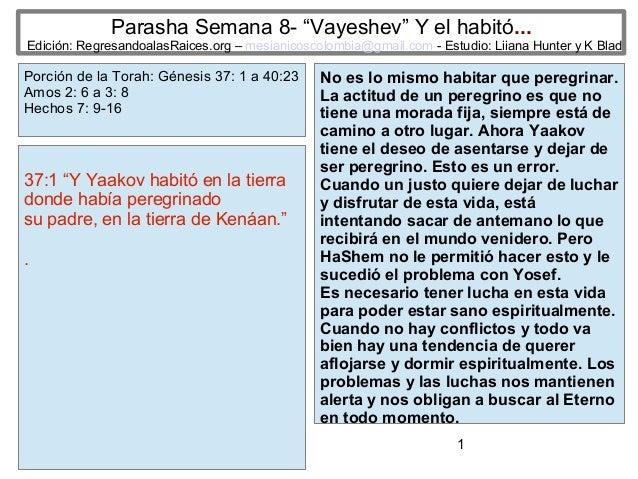 """Parasha Semana 8- """"Vayeshev"""" Y el habitó...  Edición: RegresandoalasRaices.org – mesianicoscolombia@gmail.com - Estudio: L..."""