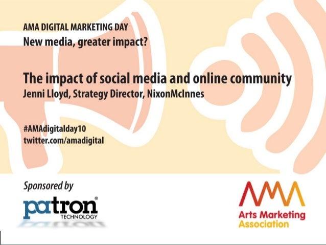 © nixonmcinnes 2010 jenni lloyd / nixonmcinnes AMA digital marketing day / london / nov 2010 valuing the impact of online ...