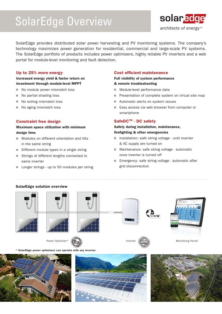 SolarEdge Overview                                                                            architects of energy ™SolarE...