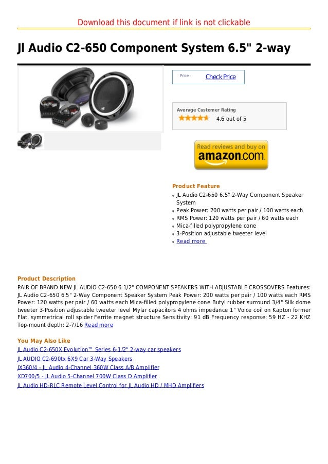 """Download this document if link is not clickableJl Audio C2-650 Component System 6.5"""" 2-way                                ..."""