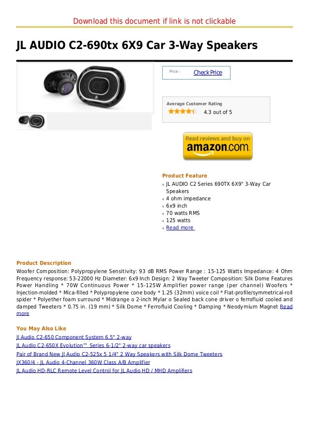 Download this document if link is not clickableJL AUDIO C2-690tx 6X9 Car 3-Way Speakers                                   ...
