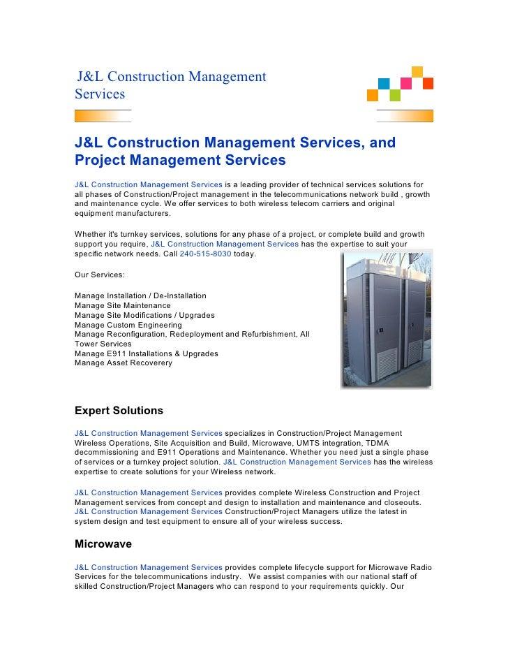 J&L Construction Management Services   J&L Construction Management Services, and Project Management Services J&L Construct...