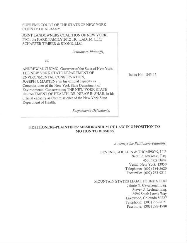 JLCNY Legal Response to AG Schneiderman's Request to Dismiss Article 78 Lawsuit