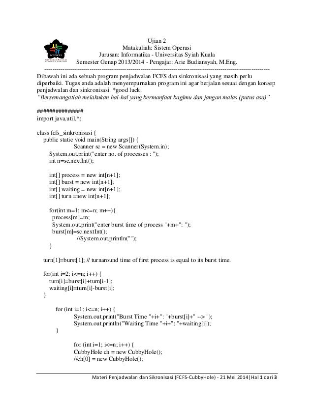Ujian 2 MK SO FCFS Sinkronisasi java