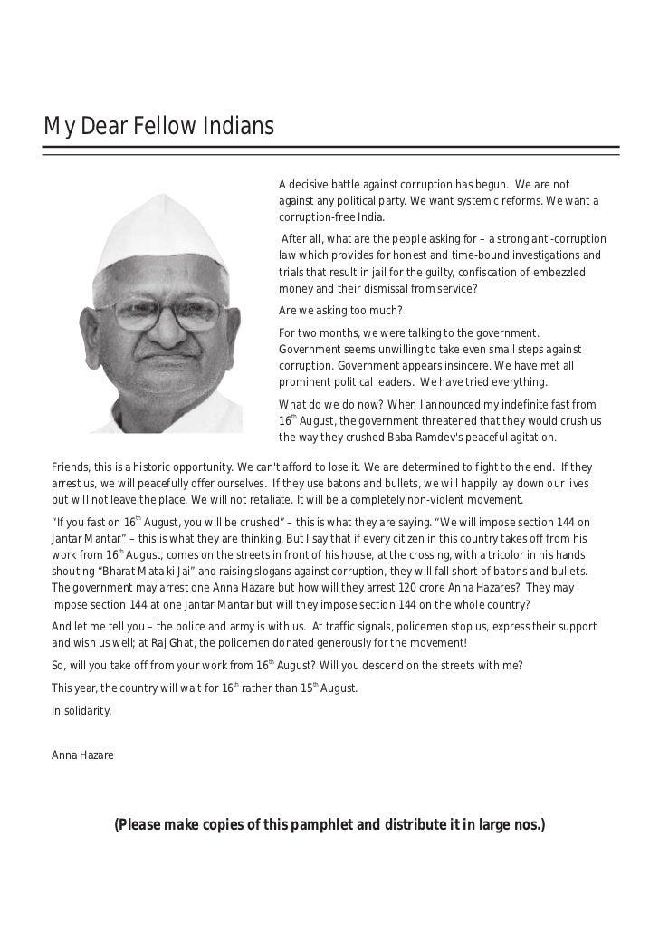 My Dear Fellow Indians                                                   A decisive battle against corruption has begun. W...