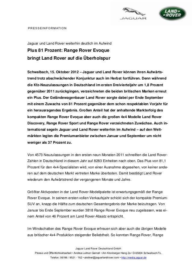 Jaguar und Land Rover weiterhin deutlich im AufwindPlus 81 Prozent: Range Rover Evoquebringt Land Rover auf die Überholspu...