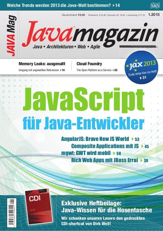 Java Magazin 1.2013  Get an X-Ray for your Java App  JAVA Mag  Welche Trends werden 2013 die Java-Welt bestimmen? 14 Deuts...