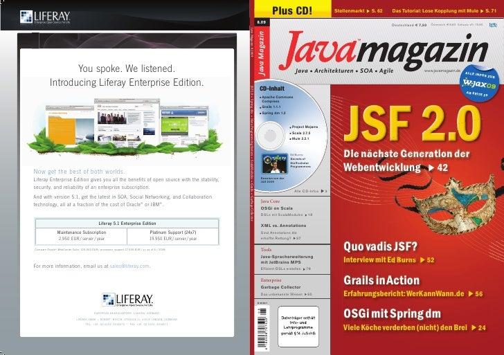 Plus CD!                       Stellenmarkt   S. 62   Das Tutorial: Lose Kopplung mit Mule                     S. 71  8.09...