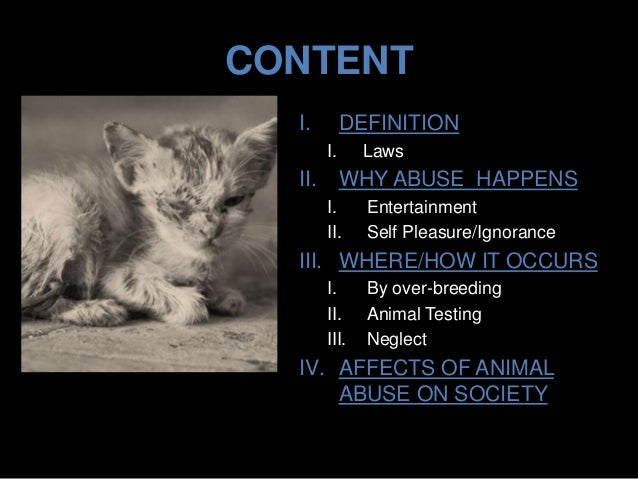 animal abuse and neglect essay Applied ethics  environmental ethics  animal ethics  animal cruelty abuse, and neglect that all lead in this essay we argue that there are at least four.