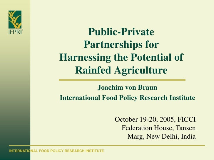 Public-Private Partnerships for Harnessing the Potential of Rainfed Agriculture