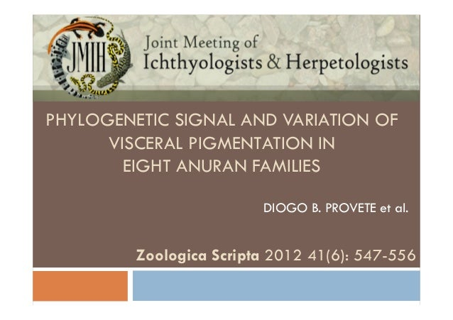 Phylogenetic signal and diversity of visceral pigmentation in eight anuran families