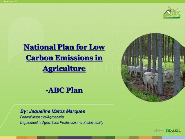 Brasília - DF  National Plan for Low Carbon Emissions in Agriculture -ABC Plan By: Jaqueline Matos Marques Federal Inspect...