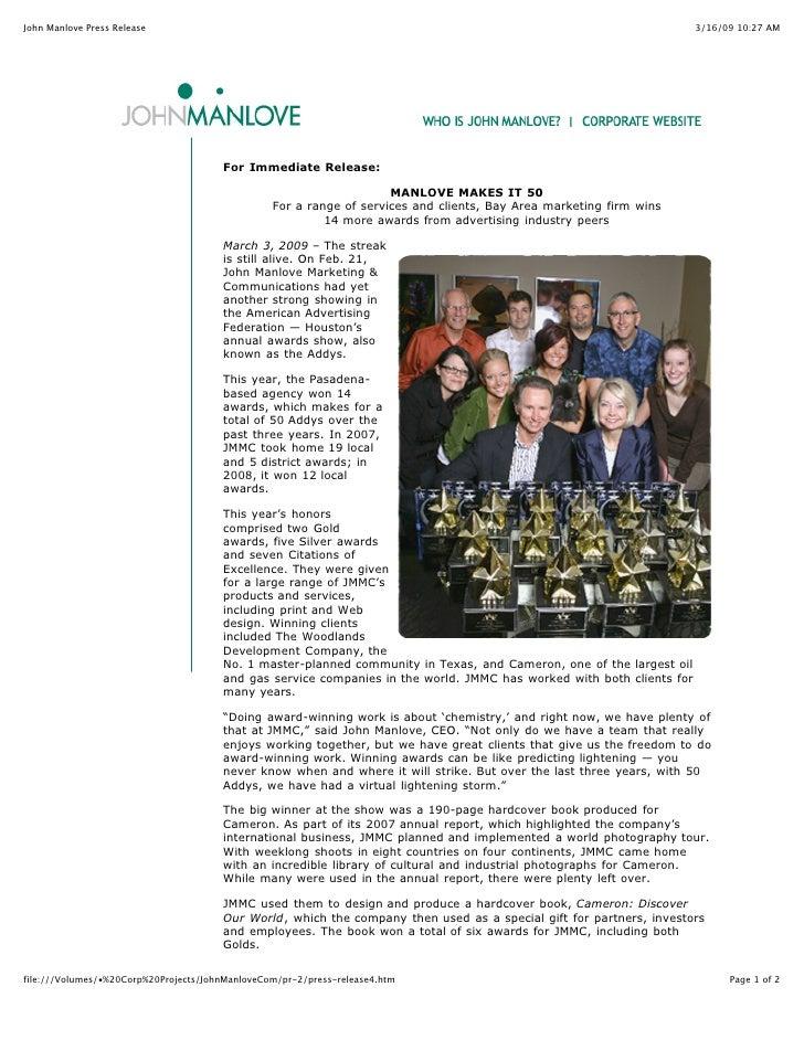 John Manlove Press Release                                                                                             3/1...