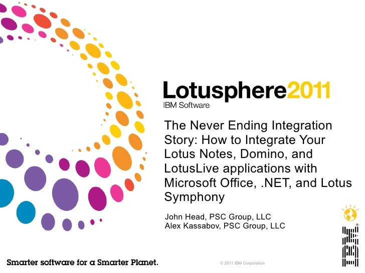 The Never Ending Integration Story: How to Integrate Your Lotus Notes, Domino, and LotusLive applications with Microsoft O...