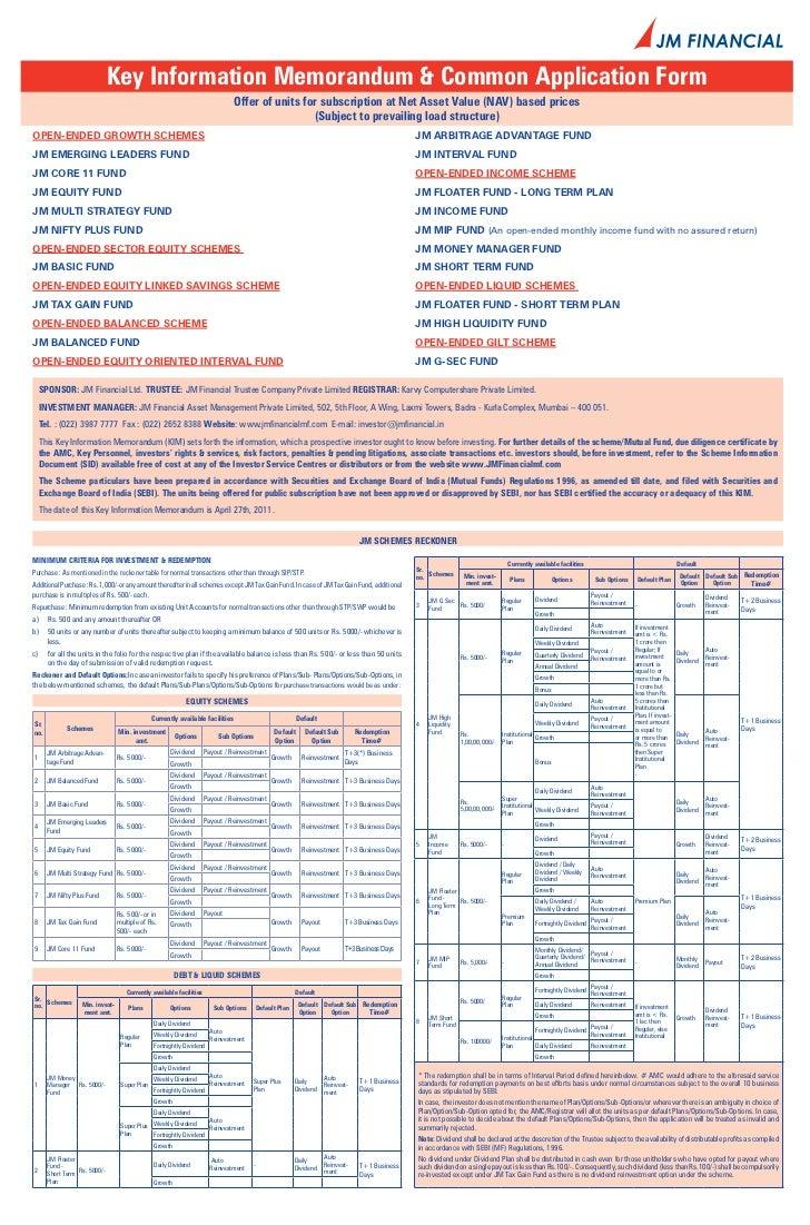 Jm tax gain fund application form
