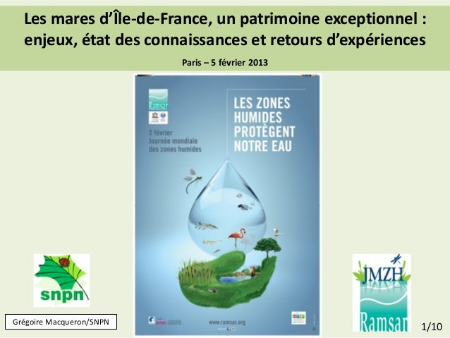 Les mares d'Île-de-France, un patrimoine exceptionnel :  enjeux, état des connaissances et retours d'expériences          ...
