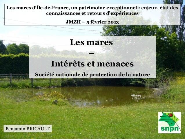 Les mares d'Île-de-France, un patrimoine exceptionnel : enjeux, état des                 connaissances et retours d'expéri...